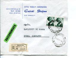Italia (1966) -  2x85 Lire Michelangiolesca Su Raccomandata Da Bologna (succ. 17) - 6. 1946-.. Repubblica