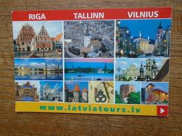 Les Trois Pays Baltes , Leurs Capitale , Riga , Tallinn , Vilnius , Multi-vues - Postkaarten