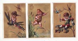 Série De 6 Chromos   AU PRINTEMPS   Enfants, Grenouille, Libellule, Sauterelle, Violon, Soufflet       11.6 X 7.7 Cm - Trade Cards