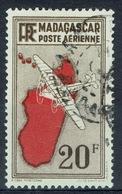 Madagascar (French Colony), Map Of The Island, 20f., 1935, VFU airmail - Madagascar (1889-1960)