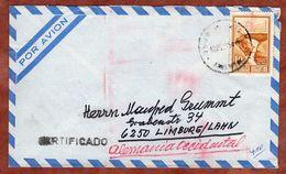 Luftpost, Einschreiben Reco, Inkabruecke + Einschreibe-Postfreistempel, Buenos Aires Nach Limburg 1974 (82502) - Argentina