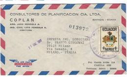 COVER CORREO ECUADOR - VIA AIR MAIL - CASILIA - MILANO - ITALIA. - Ecuador