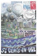 """4439 - FÊTE DU TIMBRE 2010 """"protégeons L'eau"""" CARTE LOCALE 27-02-2010 SAINT-DENIS-EN-VAL (45) - 2010-...."""