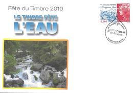 """4439 - FÊTE DU TIMBRE 2010 """"protégeons L'eau"""" ENVELOPPE NATIONALE 27-02-2010 SAINT-DENIS-EN-VAL (45) - 2010-...."""