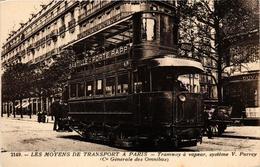 CPA PARIS Les Moyens De Transport. Tramway A Vapeur (562996) - Public Transport (surface)