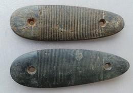 2 Anciennes Plaques De Couche En Corne Pour Fusils De Chasse - Decotatieve Wapens