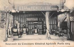 75 -   CPA Souvenir Du Concours Général Agricole PARIS 1914 (moteur EV  Etab. De Vendeuvre  AUBE) - Expositions