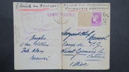 Entier 1946 Pour Le Camp De Prisonnier De L' Axe N°22 St Germain La Poterie  Timbre Décollé Par Censure Retour Envoyeur - Entiers Postaux