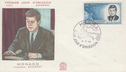 Enveloppe  FDC  1er  Jour    MONACO    Président   John  KENNEDY   1964 - Kennedy (John F.)