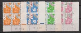 France - 1986 - Préo N°Yv. 190 à 193 - Série Complète En Blocs De 4 Coin Daté - Neuf Luxe ** / MNH / Postfrisch - Prematasellados