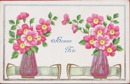 Bloem Flower Fleur Art Nouveau Jugendstil Carte Gaufrée Embossed Relief Vase Fantaisie Fantasiekaart Fantasie 1910 - Nieuwjaar