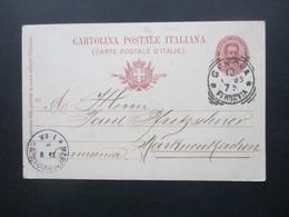 Italien 1896 Ganzsache Genua / Genova Nach Markneukirchen Mit Ak Stempel K1 Markneukirchen * 1 - 1861-78 Victor Emmanuel II.