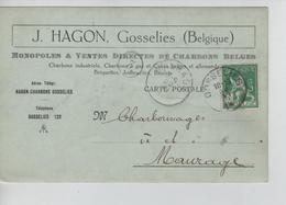 PR7619/ TP 110 S/CP Entête J.Hagon (Charbons) C.Gosselies 19/6/1914 > Charbonnages à Maurage C.d'arrivée - 1912 Pellens