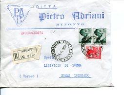 Italia (1966) -  2x85 + 40 Lire Michelangiolesca Su Raccomandata Doppio Porto Da Bitonto - 6. 1946-.. Repubblica