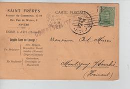 PR7620/ TP 137 S/CP Entête Saint Frères Sacs De Louage C.méc.Antwerpen 25/7/1919 > Montigny S/Sambre C.d'arrivée - 1915-1920 Albert I