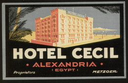EGYPT ALEXANDRIA Hotel CECIL Luggage Label -  7,5 X 12 Cm (see Sales Conditions) - Hotel Labels