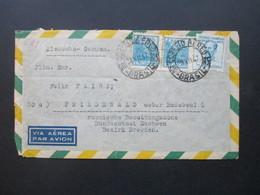 Brasilien 1947 Luftpostbrief Nach Friedewald Mit Ak Stempel Berlin Paolo Roscher Reprensentante Rua Carlos V. Koseritz - Brazil