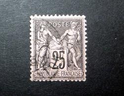 FRANCE 1886 N°97 OBL. (SAGE N/U. 25C NOIR SUR ROSE. TYPE II) - 1876-1898 Sage (Type II)