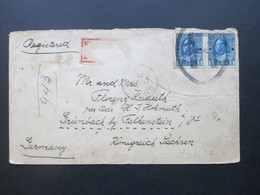 Kanada 1920 Registered Letter Nach Grünbach Bei Falkenstein Rückseitig 6 Stempel!! Mit Ak Stempel - Cartas