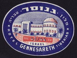 ISRAEL TIBERIASS Hotel GENNESARETH Luggage Label -  11 X 8,5 Cm (see Sales Conditions) - Etiketten Van Hotels