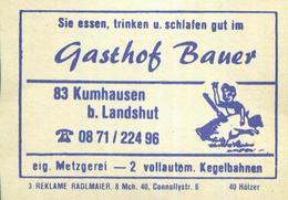 10 Alte Gasthausetiketten, Gasthof Bauer, Eig. Metzgerei, 8300 Kumhausen B. Landshut #89 - Boites D'allumettes - Etiquettes