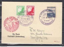 Kaart Van Deutsche Luftpost Europa-Nordamerika Lufschiff Hindenburg Naar New York U.SA. (253) - Poste Aérienne