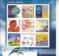 2003 Greece Greetings Train Dolphins Olympics Miniature Sheet Of 9 MNH  @ BELOW Face Value - Greece