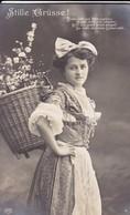AK Stille Grüsse - Frau Mit Korb Mit Blumen - Detmold 1910 (45233) - Frauen