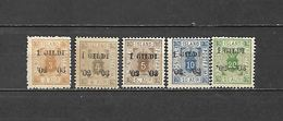1902 - FRANCOBOLLI DI SERVIZIO N. 10A/15A* (CATALOGO UNIFICATO) - Neufs