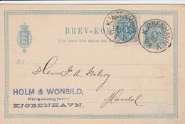 Danemark Entier Postal 1886 - Interi Postali