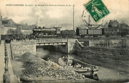Pontchateau - Passage Train Locomotive Chemin De Fer - Le Brivet Et Le Pont - Déchargement Péniche Batellerie Chaland - Pontchâteau