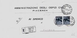 Piacenza 10-10-1947 Tariffa Raccomandata Aperta Per Caorle - 6. 1946-.. Repubblica