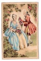 CP Couple Romantique Style Marquis Marquise Il Lui Offre Des Fleurs - Illustrators & Photographers
