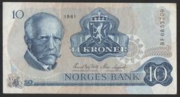 NORVEGE Billet De 10 Kroner 1981 - Norvège