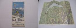 RARE CARTE TOURISTIQUE / ROUTIÈRE ECHELLE 1/200 000 SUISSE FRANCE RÉGION LAC LÉMAN GENÈVE KARTE MAP LAKE OF GENEVA V1930 - Callejero
