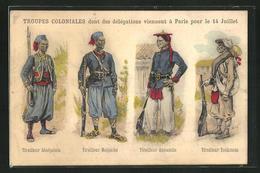 CPA Französische Infanteristen Der Kolonial-Truppen, Tirailleur Malgache, Tirailleur Annamite - Militaria