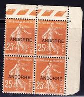 ** TIMBRES POSTE - ** - N°9 - 25c Brun Jaune - CdF - Bloc De 4 - TB - Andorre Français