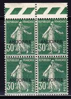 ** TIMBRES POSTE - ** - N°10 - 30c Vert - BdF - Bloc De 4 - TB - Andorre Français
