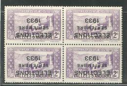 (*) TIMBRES POSTE - (*) - N°25A - 2c Violet - Bloc De 4 - Surch. Election Septembre 1933 Renversée - TB - Andorre Français
