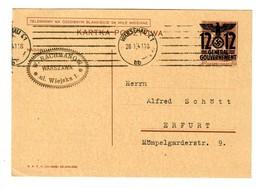 GG 1941: Ganzsache P4 Von Warschau Nach Erfurt - Ocupación 1938 – 45