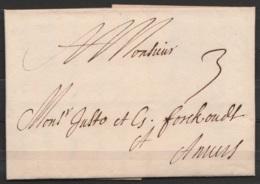 L. Datée 16 Décembre 1705 De LIEGE Pour ANVERS - Port 3 - 1621-1713 (Spanish Netherlands)