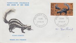 Enveloppe  FDC  1er  Jour  TERRITOIRE  FRANCAIS   Des   AFARS  Et  ISSAS   Faune   1975 - Afars Et Issas (1967-1977)