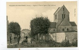CPA  02 : VILLERS EN PRAYERES  Rue Animée Avec église Et Mairie   A  VOIR   !!!! - France