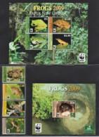 Papua New Guinea 2009 Frogs Set Of 4 + 2 Minisheets MNH  WWF - Papua New Guinea
