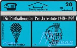 """TWK Österreich Privat: """"Postballone Pro Juventute 14"""" Gebr. - Autriche"""