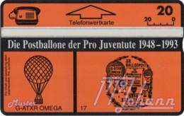 """TWK Österreich Privat: """"Postballone Pro Juventute 17"""" Gebr. - Oesterreich"""