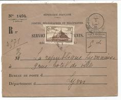 N° 260 SEUL ENVELOPPE SERVICE RECOUVREMENTS N°1494 LYON 1936 AU TARIF - Poststempel (Briefe)