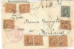 STORIA POSTALE REGNO - UMBERTO I° - DUE FRONTESPIZI  RACCOMANDATE 1892 - Marcofilía