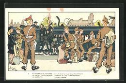 Künstler-AK En Allemagne Occupee, Belgische Soldaten Am Bahnhof - Militaria
