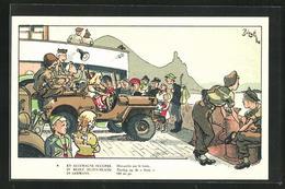 Künstler-AK En Allemagne Occupee, Belgische Soldaten Auf Einer Fähre - Militaria